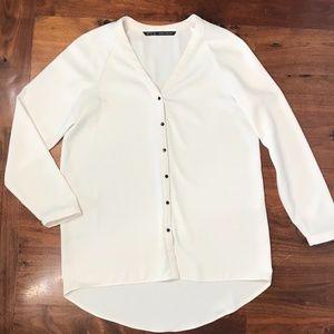 ZARA BASIC button down hi-low blouse, EUC size L